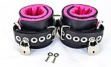 Locking Pink Satin Lined Leather Ankle Bondage Cuffs