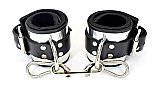 Metal Band Lined Leather Ankle Bondage Cuffs