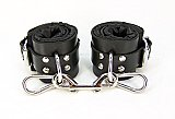 Black Satin Lined Leather Wrist Bondage Cuffs