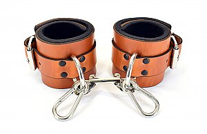 Lined Brown Leather Ankle Bondage Cuffs