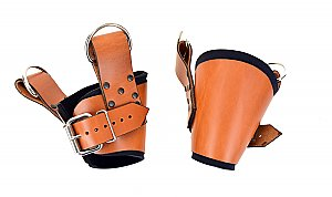 Padded Brown Leather Ankle Suspension Cuffs