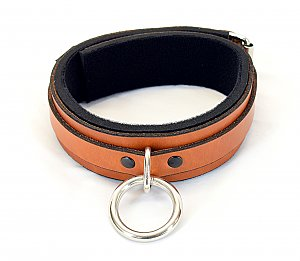 Classic Brown Leather Padded Bondage Collar