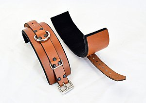 Brown Leather Wrist Bondage Cuffs