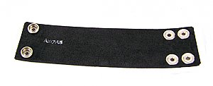"2"" Dark Band Black Leather Wristband"