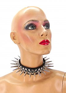 Full Metal Punk Spiked Leather Choker