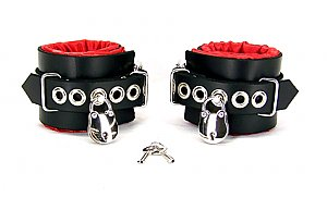 Locking Red Satin Lined Leather Wrist Bondage Cuffs
