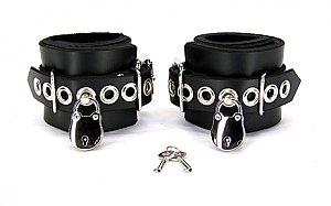 Locking Lined Leather Wrist Bondage Cuffs